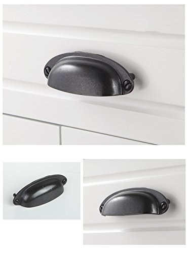 Shell Cup Handles Black Iron Half Moon Vintage Cupboard Door Drawer Cabinet Cupped Handles Pulls Knobs Furniture Hardware Cupboard Antique Brass Shell Pulls with Screws, 10 Sets ()