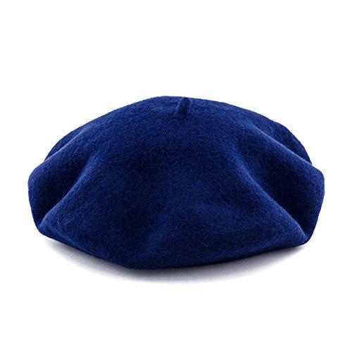Navy Blue Beret - JOOWEN Women's Vintage Classic French artist Solid 100% Wool Beret Hat Beanie Cap (Navy)
