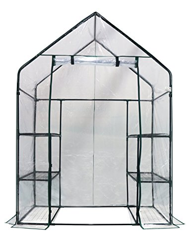 Happy Planter Walk-in 3 Tiers 6 Shelves Portable Greenhouse, 56″ x 29″ x 77″