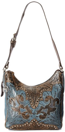 American West Annie's Secret Hobo Bag, Distressed Charcoal/Denim Blue, One Size by American West