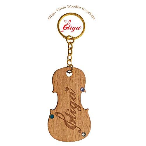Gliga Violin Engraved Wood Maple Keychain, Best Gift for Violins/Viola player, Fashion genuine Glacier Iceberg Swarovski Crystal decoration
