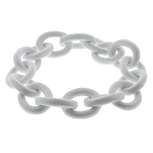 Elegant White Ceramic Chain Sculpture | Links Round Porcelain