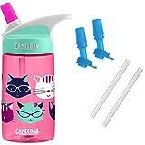 CamelBak Eddy Kids Water Bottle, Meow, 0.4 L with Bottle Accessory 2 Bite Valves/2 Straws