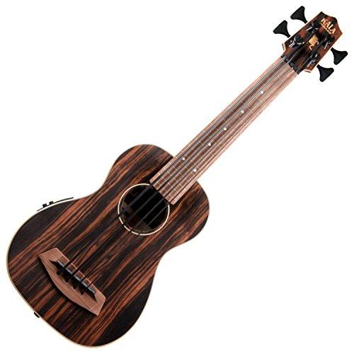 Kala UBASS-EBY-FL Striped Ebony Fretless U-Bass Acoustic-Electric Ukulele Bass Natural