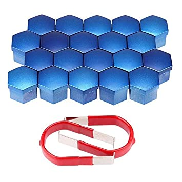 W-Shufang,bolt 20PCS 19MM Chrome Alloy Wheel Nuts Lugs Bolts Cap Covers Protector Plastic Color : Blue