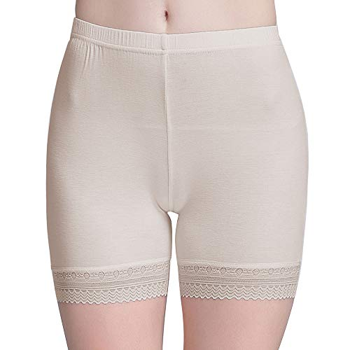 Vinconie Sexy Cotton Spandex Boyshort Yoga Bike Shorts Cropped Leggings Lace Beige