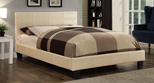 Furniture of America Hariett Leatherette Platform Bed, Eastern King, Pearl White