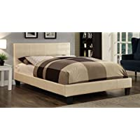 Furniture of America Hariett Leatherette Platform Bed, California King, Pearl White