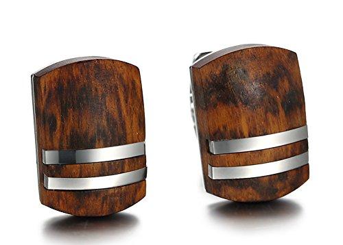 MPRAINBOW 2PCS Rosewood Cufflinks Stainless Steel for Men Business Gift Shirt Gift Wedding Cufflinks ()
