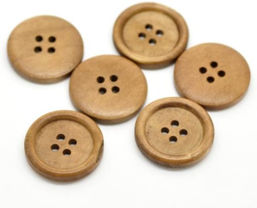 100Pcs Brown 4-holes Round Wooden Button Sewing Scrapbooking Craft 20mm 25mm