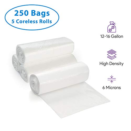 12-16 Gallon Clear Trash Bags, 250 Count - Medium - Large Garbage Can Liners - High Density, Lightweight, 6 Microns - For Kitchen, Office, Home, Hospital, Industrial Wastebaskets - 5 Coreless Rolls