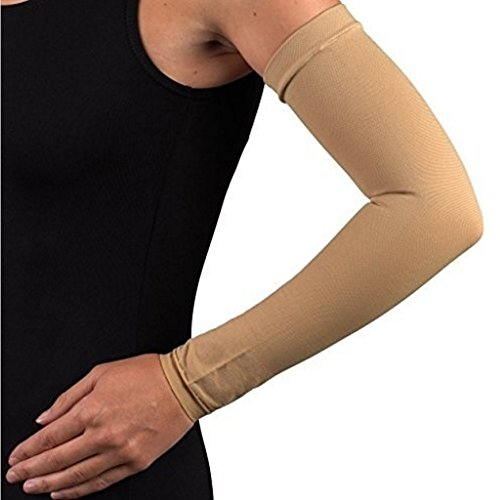Compression Arm Sleeve with Gauntlet, Lymphedema Post-Op Support, X-Large (No Thumb Hole)