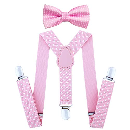 Child Kids Suspenders Bowtie Set - Adjustable Suspender Set for Boys and Girls(Pink Polka dot) for $<!--$9.29-->