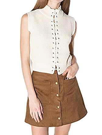 Tidecloth Women's Leisure time Simple A word skirt ButtonsUp Skirts Khaki 2