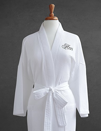 Hers Buckets - Luxor Linens Egyptian Cotton Hers Waffle Weave Robe - Perfect Wedding Gift! - Hers