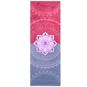 MamaRoo Yoga Premium Yoga Mat/Towel Combo- Eco, Printed Microfiber Design Increases Grip with Sweat. Non-Toxic, Odorless, Machine Washable- Best for Hot Yoga, Outdoors, Women, Kids. Strap Included!