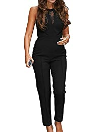 Women's Romper Jumpsuits Lace Patchwork Mesh Sheer Long Pants Jumpsuits