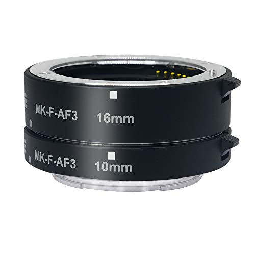 mcoplus MK-F-AF3 Metal Auto Focus Macro Extension Tubes Set(10+16mm) for Fujifilm Fuji X-Mount X-T2,X-T20,X-T3,X-T30, XT1 etc. ()