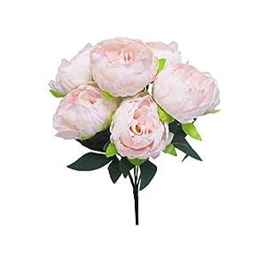 """Blush Pink Peony Bush Artificial Silk Flower 15"""" Bouquet 7-1922 BPK 35"""
