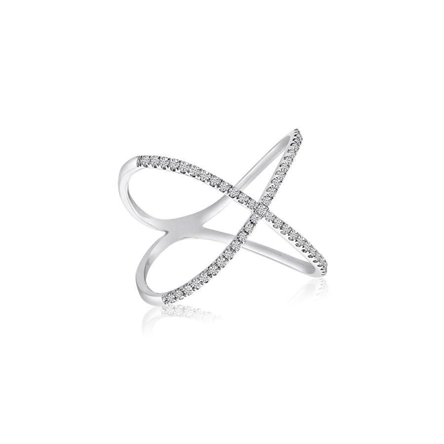 0.20 Carat (ctw) 14k Gold Round Diamond 'X' Shaped Crossover Fashion Band Ring