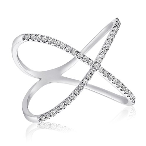 0.20 Carat (ctw) 14k Gold Round Diamond 'X' Shaped Crossover Fashion Band Ring