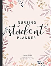Nursing Student Planner 2020-2021: Hand Drawn Leaf Cover | 2020-2021 Daily Weekly and Monthly Academic School Year August 2020 - July 2021 | Calendar Organizer Schedule Agenda Journal Notebook | Appointment Book| Nursing Student Gift for Women RN's LPN's