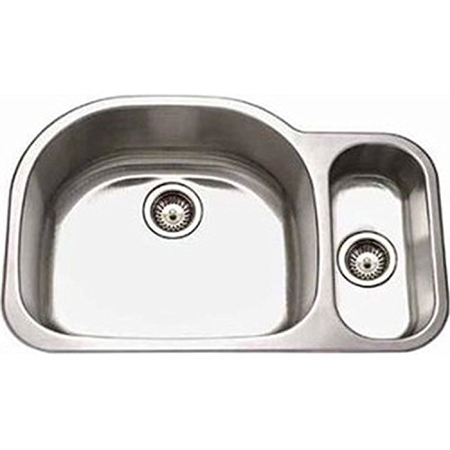 (Houzer MG-3209SL-1 Medallion Designer Series Undermount Stainless Steel 80/20 Double Bowl Kitchen Sink Small Bowl Left)