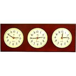 Bey-Berk International Brass Multizone Clock on Mahogany with 3 Brass Plates - Tarnish Proof