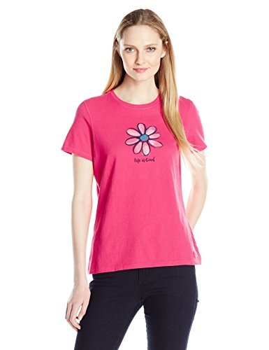 Life is Good Women's Crusher Lig Daisy Tee, Pop Pink, Small