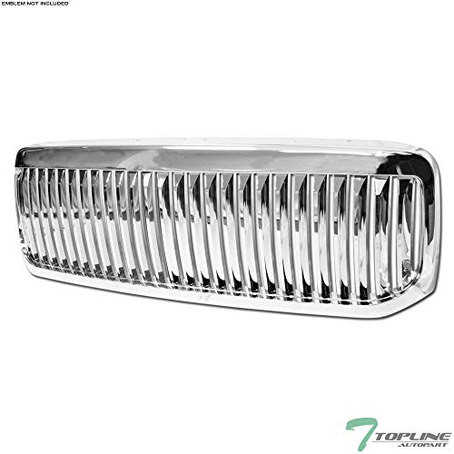 Topline Autopart Chrome Vertical Front Hood Bumper Grill Grille ABS For 99-04 Ford F250 / F350 / F450 / F550 Superduty ; 00-04 Excursion