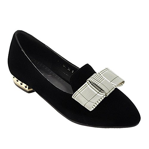 Carolbar Women's Sweet Lovely Bow Flat Pointed Toe Loafer Court Shoes Black fvWsp