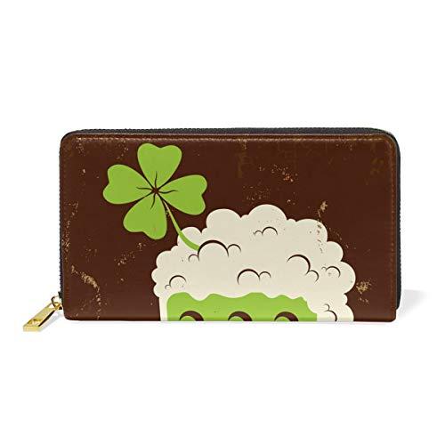 Women Wallet Purse Four-Leaf Clover Green Beer Clutch Bag Leather