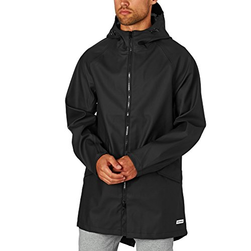 Converse Black Rubber Fishtail Parka Coat 10001119 Small: Amazon ...