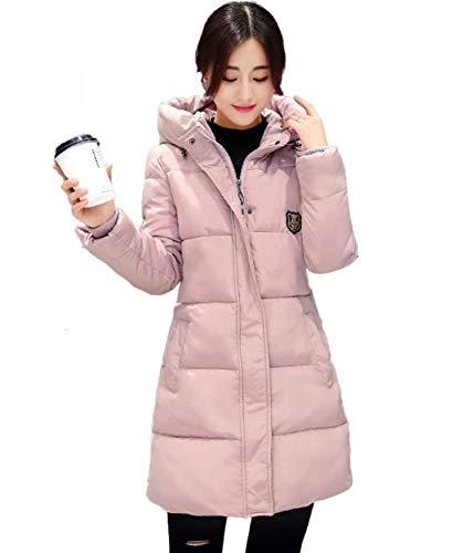Rosa Manica Piumino Giacca Invernali Trapuntato Elegante Donna Moda Lunga 1 Giacche Incappucciato Trapuntata Tasche Marca Di Mode Autunno Imbottitura Laterali Casual Calda Cappotto p10qw0H6