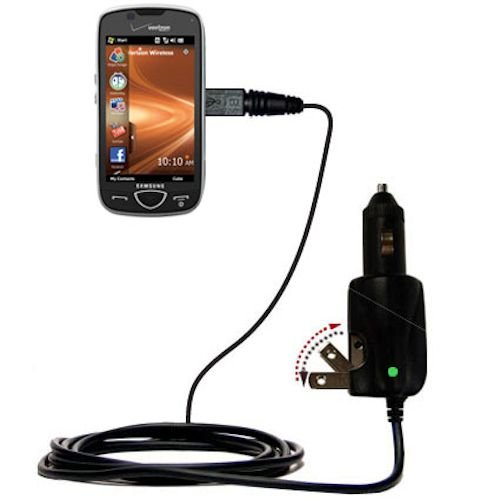 Advanced Gomadic 2 in 1 Auto / Car DC Charger Compatible with Samsung Omnia II SCH-i920 with Foldable Wall AC Charging plug - Amazing design built with TipExchange Technology