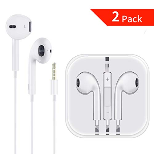 2-Pack Headphones/Earphones/Earbuds/Headsets 3.5mm with Stereo Mic&Remote Control Compatible with iPhone 6s/ 6 Plus/ 5s/ 5c/ 5/ 4s/ SE iPad/iPod 7/Samsung/Galaxy White