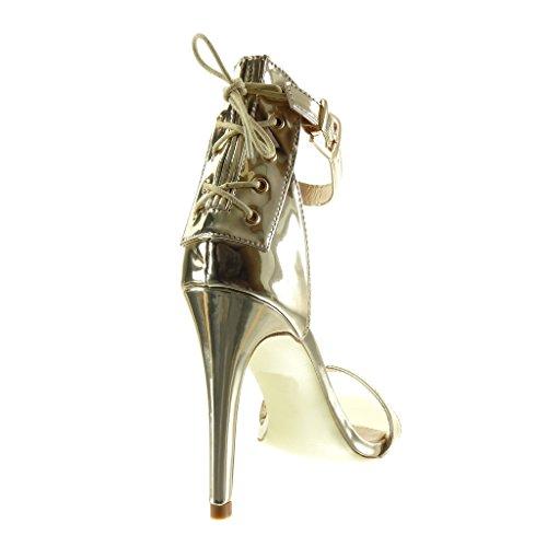 Angkorly - Zapatillas de Moda Tacón escarpín Sandalias stiletto sexy mujer encaje tanga Talón Tacón de aguja alto 10.5 CM - Oro