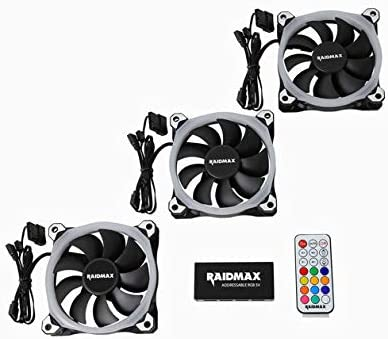 ASUS Aura Sync and MSI Mystic Light Sync Compatible Raidmax 120 mm Customizable Addressable RGB LED Case Fan 1 Pack
