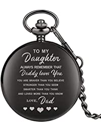 """Engraved Pocket Watch, Pocket Watch for Girls, Personalized Gift""""to My Daughter"""" Black Full Hunter Pocket Watch Steampunk Clock"""