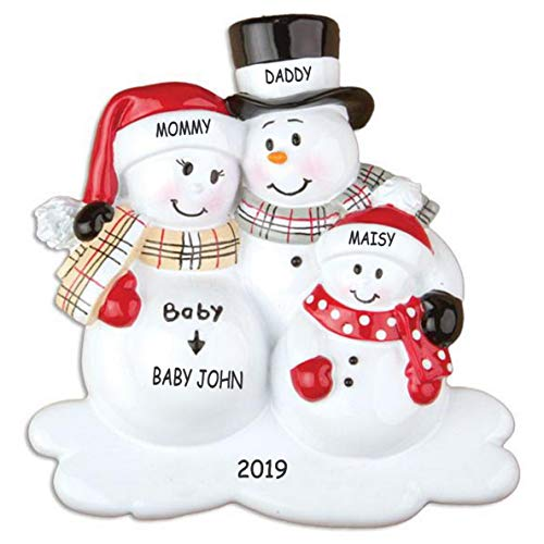 DIBSIES Personalized We're Expecting Snowman Family Christmas Ornament (Family of 4) (Snowman Family Personalized)
