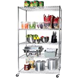 """Seville Classics UltraDurable Commercial-Grade 5-Tier NSF-Certified Steel Wire Shelving with Wheels, 48"""" W x 24"""" D, Chrome"""