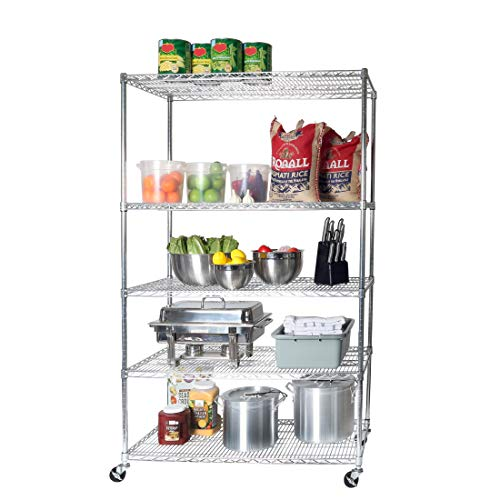 "Seville Classics UltraDurable Commercial-Grade 5-Tier NSF-Certified Steel Wire Shelving with Wheels, 48"" W x 24"" D, Chrome"
