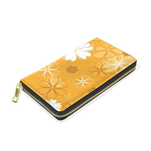 Organizer Clutch Zip And Around Wallet Purses Flower Womens Handbags TIZORAX Yellow wAYXxt