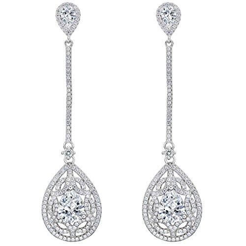 Art Deco Drop - EleQueen 925 Sterling Silver Cubic Zirconia Teardrop Art Deco Bridal Chandelier Long Dangle Earrings Clear