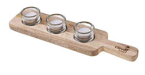 Clever Creations Premium Mango Wood Tea Light Holder Features 3 Glass Tealight Holders & Convenient Handle | Made of 100% Mango Wood | Beautiful Modern Design | Fits All Standard Tealights