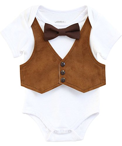 Noah's Boytique Baby Boys Thanksgiving Fall Outfit Suede Vest with Bow Tie (Suede Outfit)