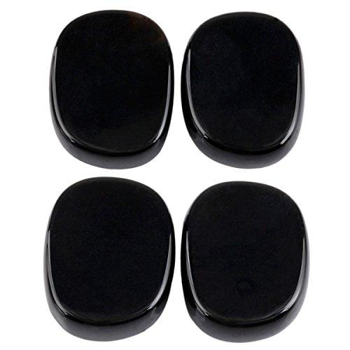 Rockcloud Healing Crystal Black Agate 4pcs Engraved Chakra Palm Stone Reiki Balancing