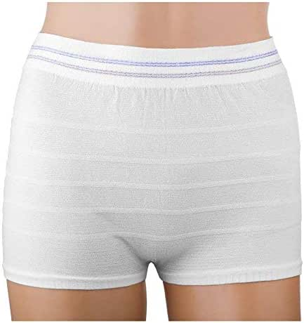 Women Mesh Postpartum Panties Washable Reusable Short Underwear Suitable for Post Surgical Recovery, Breathable, Stretchy, Light (White, 6 Pack M/L)