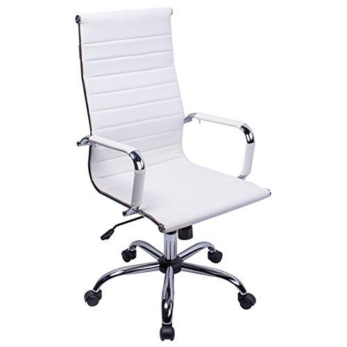 poptoy - Silla de oficina de piel sintetica con respaldo alto curvado, altura ajustable, color blanco