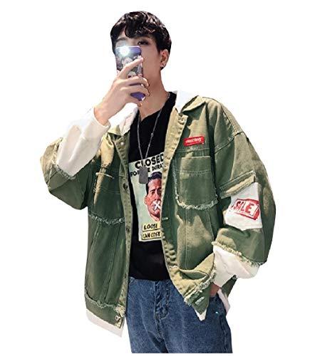 Jacket Hem Loose Two Fresh False AngelSpace Men's Green Denim Trucker Raw Pieces Bv0CqW4Owx